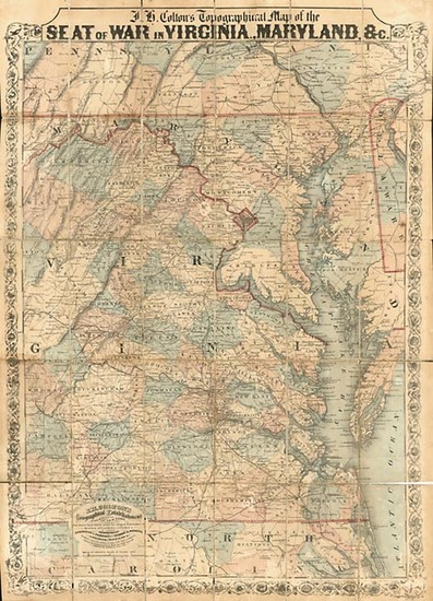 65-Mid-Atlantic and Southeast Map By Joseph Hutchins Colton / Land & Cooper