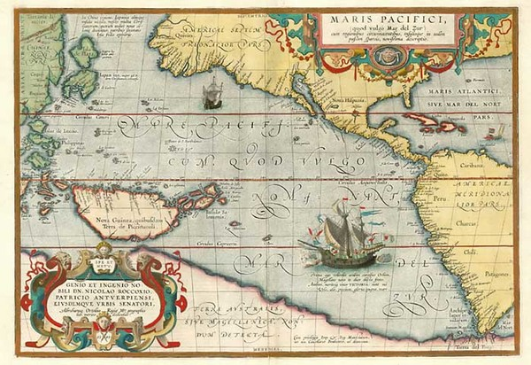 15-World, Polar Maps, South America, Pacific and America Map By Abraham Ortelius