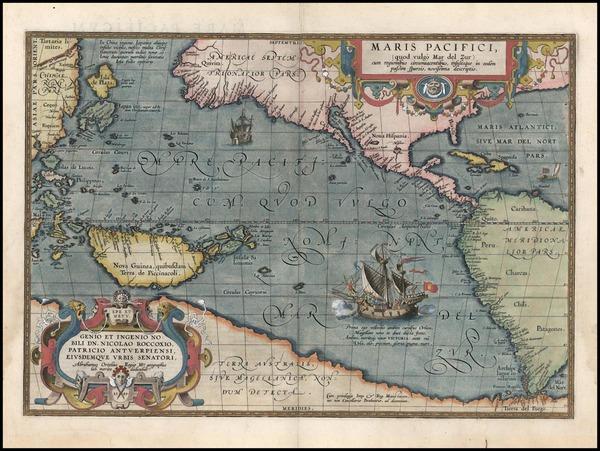 88-World, Western Hemisphere, Polar Maps, South America, Pacific and America Map By Abraham Orteli