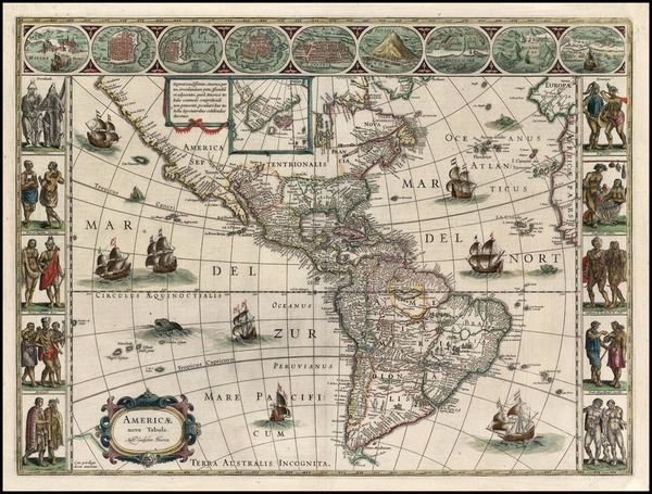 95-North America, South America and America Map By Willem Janszoon Blaeu