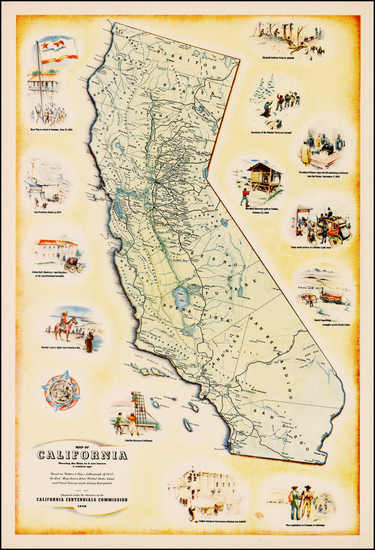 4-Pictorial Maps and California Map By California Centennial Commission