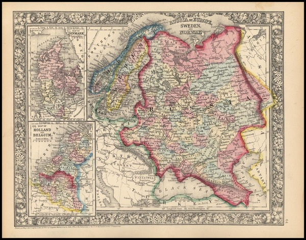 56-Europe, Russia and Scandinavia Map By Samuel Augustus Mitchell Jr.
