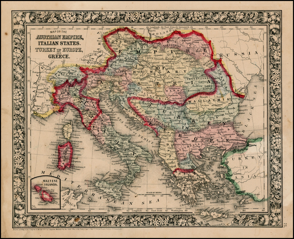 43-Europe, Austria, Balkans, Greece and Balearic Islands Map By Samuel Augustus Mitchell Jr.
