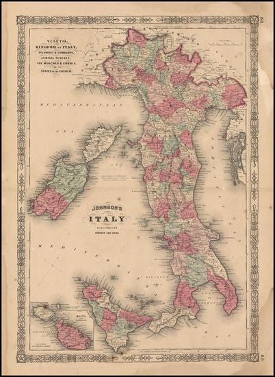 89-Europe and Italy Map By Benjamin P Ward  &  Alvin Jewett Johnson