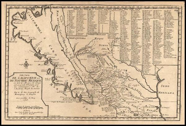 73-Southwest, Mexico, Baja California and California Map By Nicolas de Fer