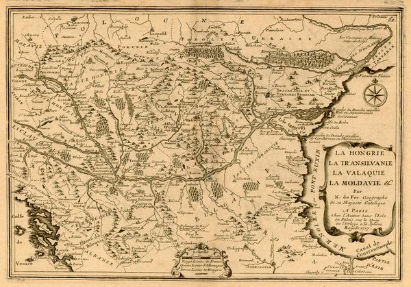 83-Europe, Austria, Poland, Ukraine, Hungary, Romania and Balkans Map By Nicolas de Fer