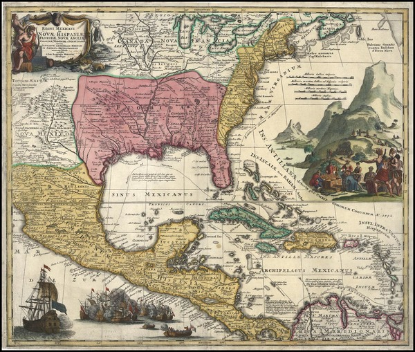 16-South, Southeast, Texas and Midwest Map By Johann Baptist Homann