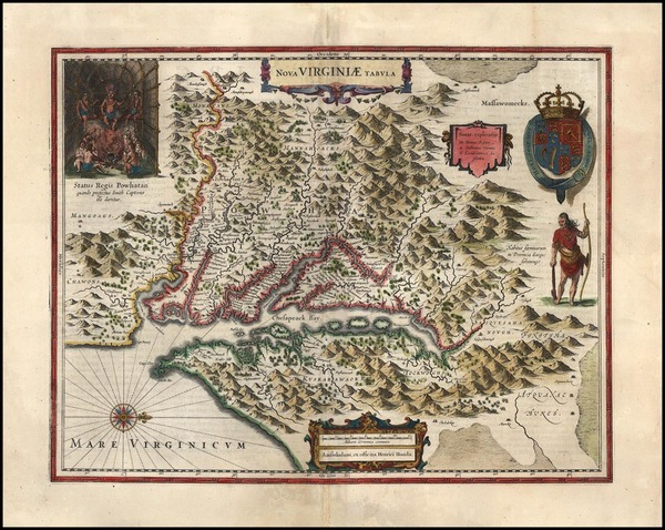 49-Mid-Atlantic and Southeast Map By Henricus Hondius