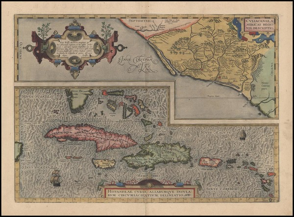 95-Southeast, Mexico and Caribbean Map By Abraham Ortelius