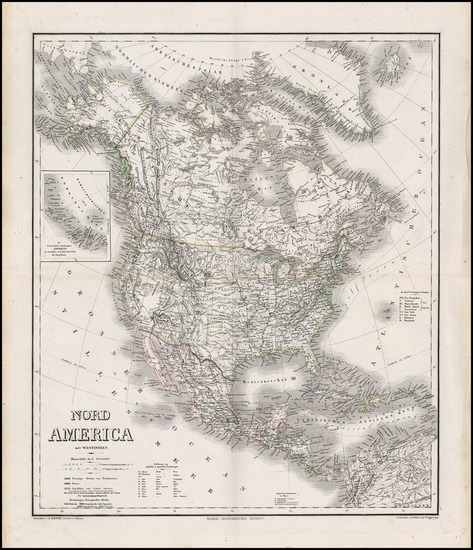 87-North America Map By Heinrich Kiepert