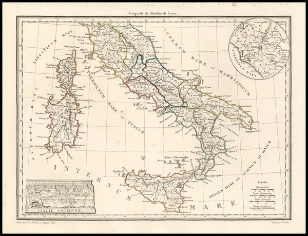 36-Europe, Italy and Balearic Islands Map By Conrad Malte-Brun