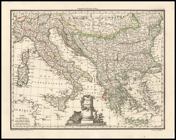 49-Balkans, Italy, Greece and Turkey Map By Conrad Malte-Brun