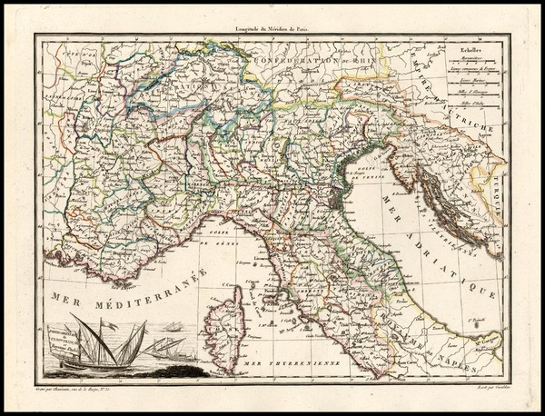 39-Europe, France and Italy Map By Conrad Malte-Brun