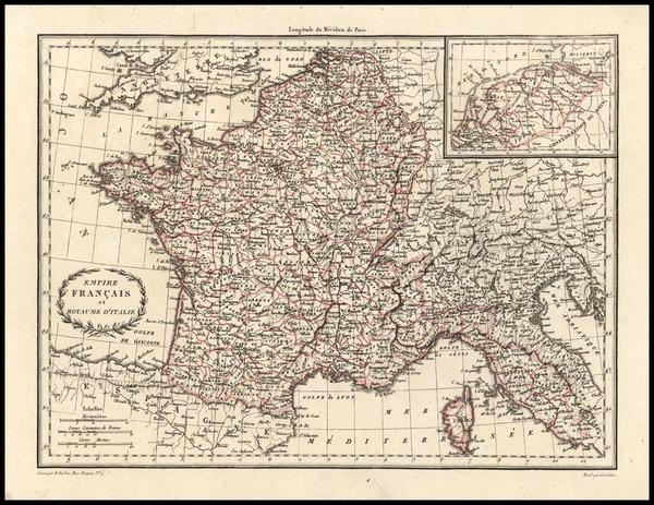 99-Europe, France and Italy Map By Conrad Malte-Brun
