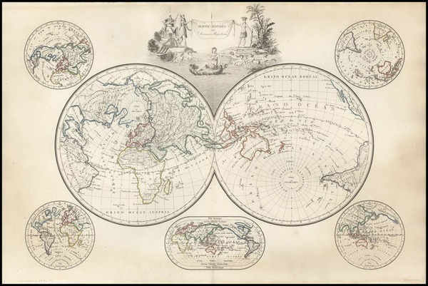 85-World, World, Northern Hemisphere, Southern Hemisphere and Polar Maps Map By Conrad Malte-Brun