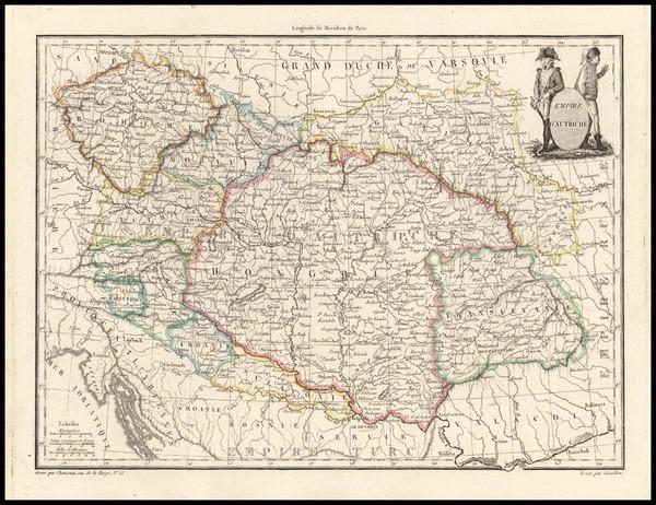 94-Europe, Austria, Hungary, Romania and Czech Republic & Slovakia Map By Conrad Malte-Brun