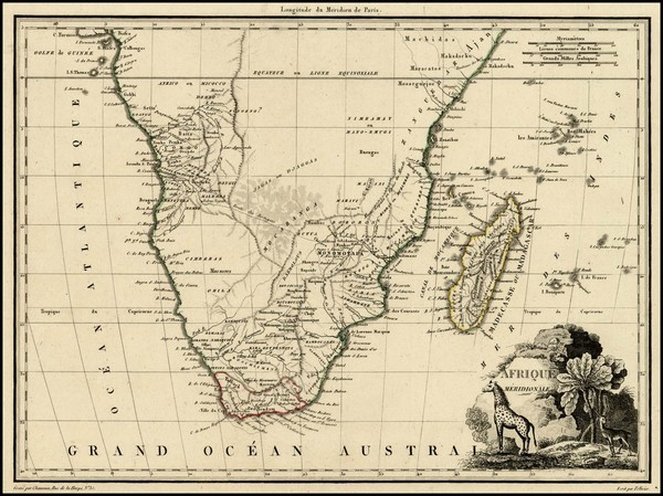 47-South Africa and African Islands, including Madagascar Map By Conrad Malte-Brun