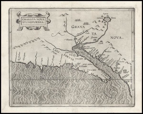 31-Southwest, Mexico, Baja California and California Map By Cornelis van Wytfliet