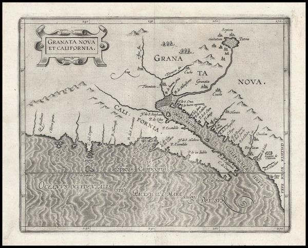 43-Southwest, Mexico, Baja California and California Map By Cornelis van Wytfliet