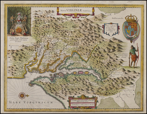 61-Mid-Atlantic and Southeast Map By Henricus Hondius