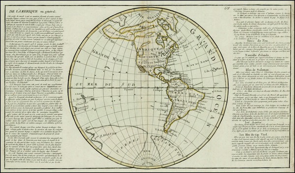77-Western Hemisphere, South America and America Map By Jean Baptiste Louis Clouet