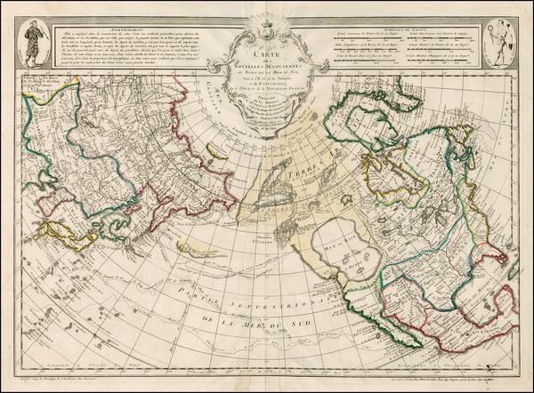 3-Polar Maps, Alaska, North America, Canada and Pacific Map By Jean André Dezauche