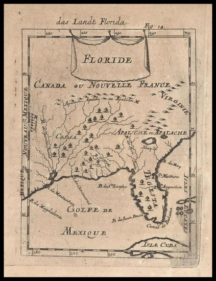 27-Florida and Southeast Map By Alain Manesson Mallet