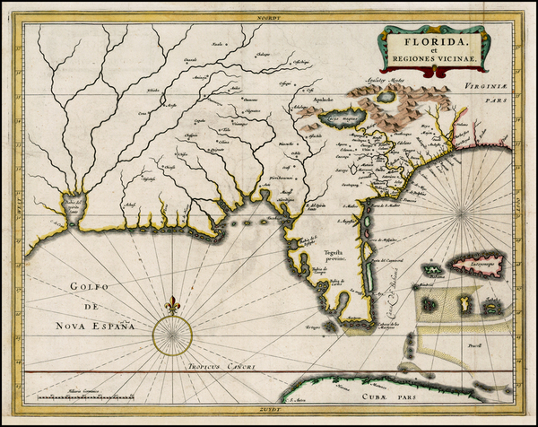 37-Florida, South and Southeast Map By Joannes De Laet