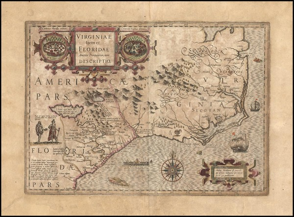 96-Mid-Atlantic and Southeast Map By Jodocus Hondius