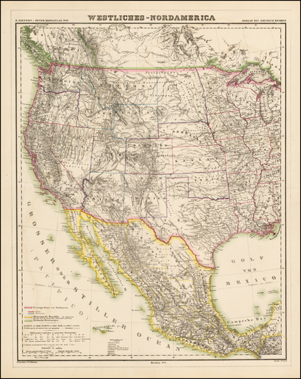 Southwest, Rocky Mountains and California Map By Dietrich Reimer  &  Heinrich Kiepert