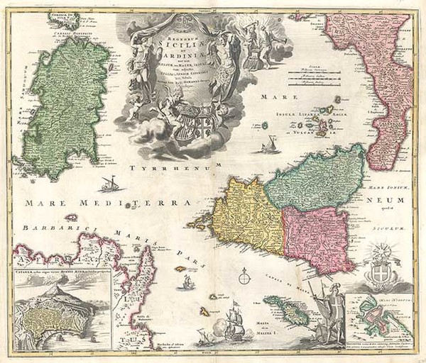 30-Europe, France, Italy, Mediterranean and Balearic Islands Map By Johann Baptist Homann