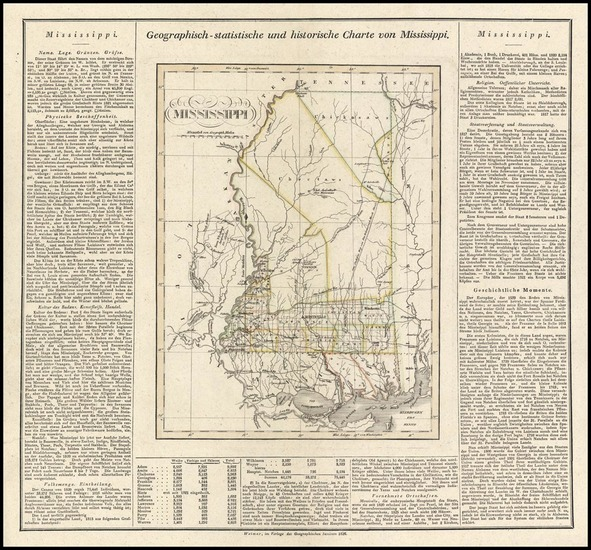 64-Mississippi Map By Carl Ferdinand Weiland