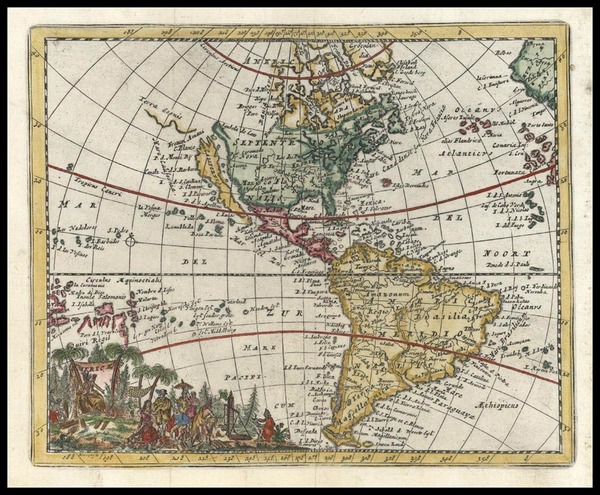 48-World, Western Hemisphere, South America and America Map By Don Francisco De Afferden