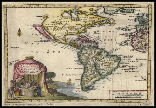 40-South America and America Map By Pieter van der Aa