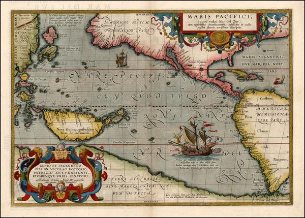 15-World, Western Hemisphere, Polar Maps, South America, Pacific and America Map By Abraham Orteli