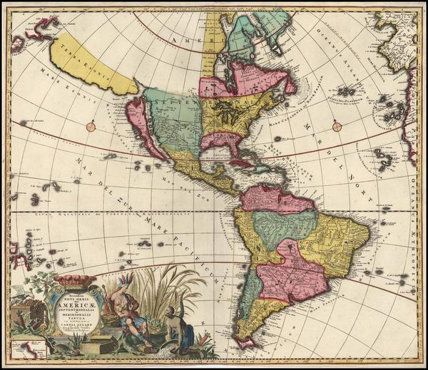 84-South America, Australia & Oceania, New Zealand, California and America Map By Carel Allard