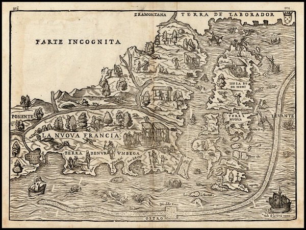 43-New England and Canada Map By Giovanni Battista Ramusio / Giacomo Gastaldi
