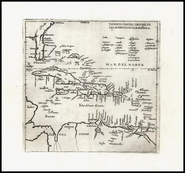 50-Southeast and Caribbean Map By Antonio de Herrera y Tordesillas