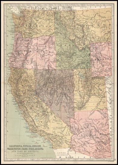 56-Southwest, Rocky Mountains and California Map By T. Ellwood Zell