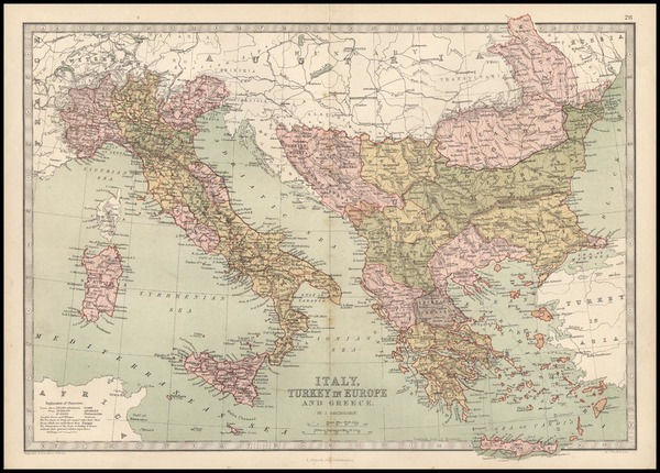 36-Europe, Italy, Greece, Turkey and Mediterranean Map By T. Ellwood Zell