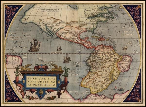 40-World, Western Hemisphere, South America and America Map By Abraham Ortelius