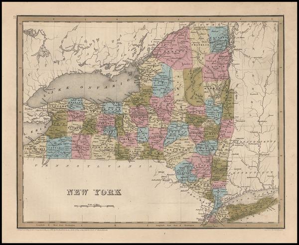 54-New York State Map By Thomas Gamaliel Bradford
