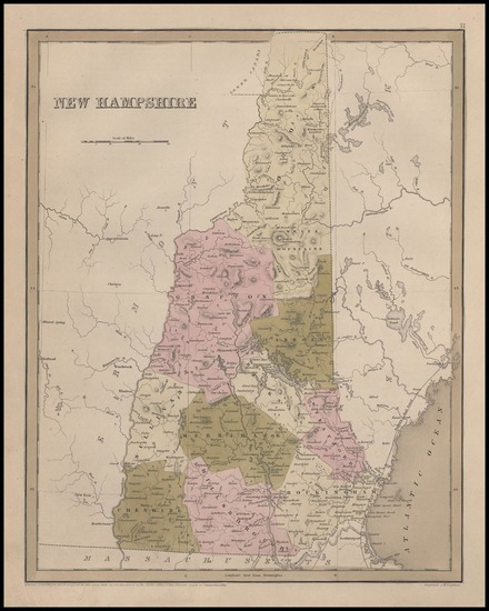 New England and New Hampshire Map By Thomas Gamaliel Bradford