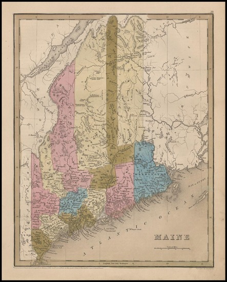 81-New England and Maine Map By Thomas Gamaliel Bradford