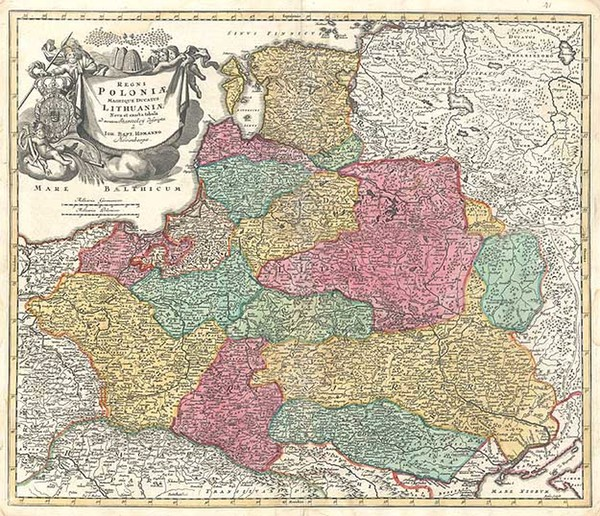 97-Europe, Germany, Poland, Russia and Baltic Countries Map By Johann Baptist Homann