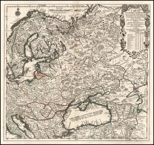 97-Europe, Poland, Russia, Balkans and Scandinavia Map By Nicolas de Fer