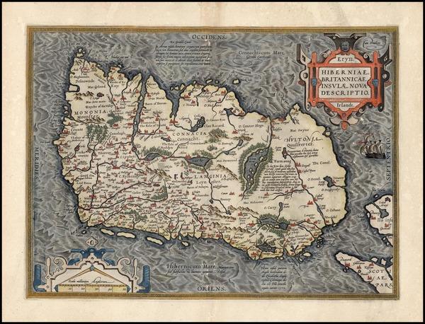 91-Ireland Map By Abraham Ortelius