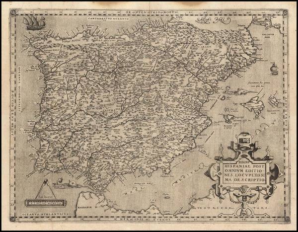 42-Spain and Portugal Map By Andreas Schottus