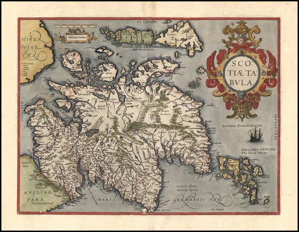 88-Scotland Map By Abraham Ortelius