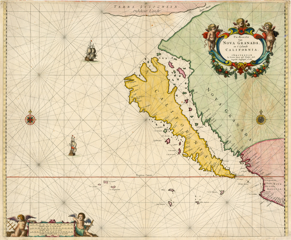 4-World, Southwest, North America, Baja California, Pacific and California Map By Pieter Goos